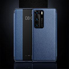 Funda de Cuero Cartera con Soporte Carcasa T16 para Huawei P40 Azul