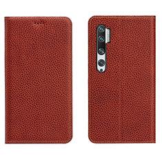 Funda de Cuero Cartera con Soporte Carcasa T16 para Xiaomi Mi Note 10 Marron