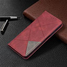 Funda de Cuero Cartera con Soporte Carcasa T17 para Xiaomi Poco M3 Rojo