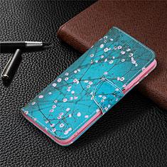 Funda de Cuero Cartera con Soporte Carcasa T19 para Xiaomi Poco M3 Azul