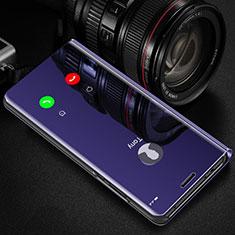 Funda de Cuero Cartera con Soporte Espejo Carcasa L01 para Samsung Galaxy S21 Ultra 5G Morado