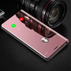 Funda de Cuero Cartera con Soporte Espejo Carcasa L01 para Samsung Galaxy S21 Ultra 5G Oro Rosa
