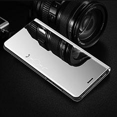 Funda de Cuero Cartera con Soporte Espejo Carcasa L01 para Samsung Galaxy S21 Ultra 5G Plata