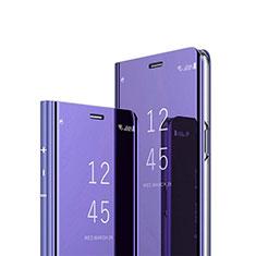 Funda de Cuero Cartera con Soporte Espejo Carcasa L01 para Xiaomi Mi Note 10 Lite Morado