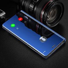 Funda de Cuero Cartera con Soporte Espejo Carcasa L01 para Xiaomi Redmi Note 9S Azul