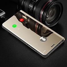 Funda de Cuero Cartera con Soporte Espejo Carcasa L02 para Apple iPhone 12 Mini Oro