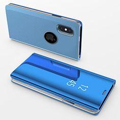 Funda de Cuero Cartera con Soporte Espejo Carcasa L02 para Apple iPhone Xs Max Azul