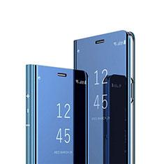 Funda de Cuero Cartera con Soporte Espejo Carcasa L02 para Huawei Y7a Azul