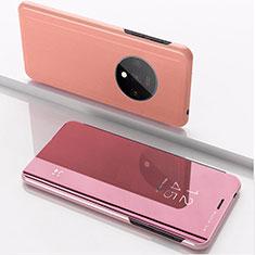 Funda de Cuero Cartera con Soporte Espejo Carcasa L02 para OnePlus 7T Oro Rosa