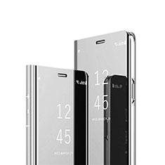 Funda de Cuero Cartera con Soporte Espejo Carcasa L02 para Samsung Galaxy S21 Ultra 5G Plata