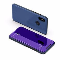 Funda de Cuero Cartera con Soporte Espejo Carcasa L02 para Xiaomi Mi Max 3 Azul