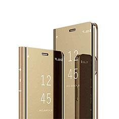 Funda de Cuero Cartera con Soporte Espejo Carcasa L02 para Xiaomi Redmi 9i Oro
