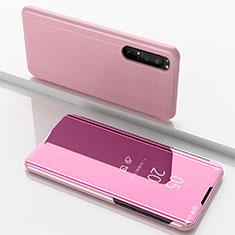 Funda de Cuero Cartera con Soporte Espejo Carcasa L03 para Sony Xperia 1 II Oro Rosa