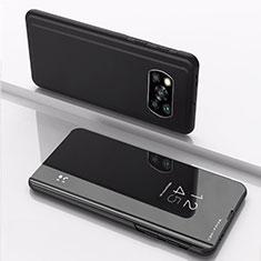 Funda de Cuero Cartera con Soporte Espejo Carcasa L03 para Xiaomi Poco X3 NFC Negro