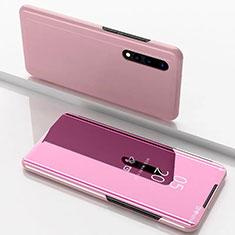 Funda de Cuero Cartera con Soporte Espejo Carcasa M01 para Samsung Galaxy A70 Oro Rosa