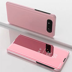 Funda de Cuero Cartera con Soporte Espejo Carcasa M01 para Samsung Galaxy A80 Oro Rosa