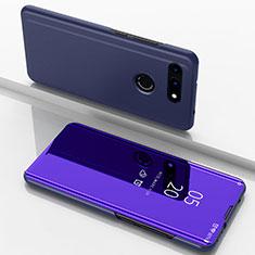 Funda de Cuero Cartera con Soporte Espejo Carcasa M03 para Huawei Honor View 20 Azul