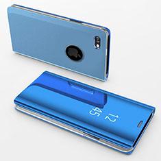 Funda de Cuero Cartera con Soporte Espejo Carcasa para Apple iPhone 6 Azul