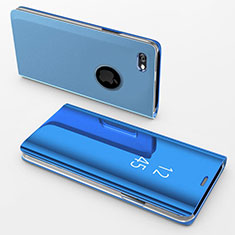 Funda de Cuero Cartera con Soporte Espejo Carcasa para Apple iPhone 6S Azul