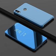 Funda de Cuero Cartera con Soporte Espejo Carcasa para Huawei Enjoy 9 Plus Azul