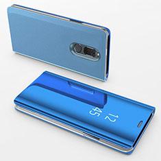 Funda de Cuero Cartera con Soporte Espejo Carcasa para Huawei Mate 10 Lite Azul