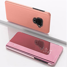 Funda de Cuero Cartera con Soporte Espejo Carcasa para Huawei Mate 30 Lite Oro Rosa