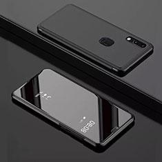 Funda de Cuero Cartera con Soporte Espejo Carcasa para Huawei Y7 Pro (2019) Negro