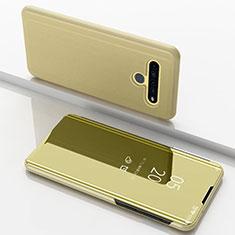 Funda de Cuero Cartera con Soporte Espejo Carcasa para LG K61 Oro