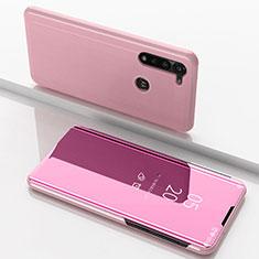 Funda de Cuero Cartera con Soporte Espejo Carcasa para Motorola Moto G8 Power Oro Rosa