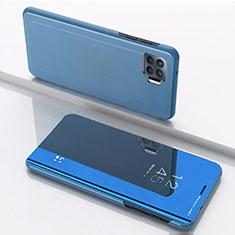 Funda de Cuero Cartera con Soporte Espejo Carcasa para Oppo Reno4 Lite Azul