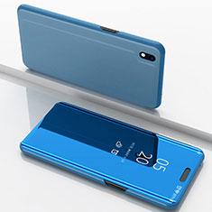 Funda de Cuero Cartera con Soporte Espejo Carcasa para Samsung Galaxy A10 Azul