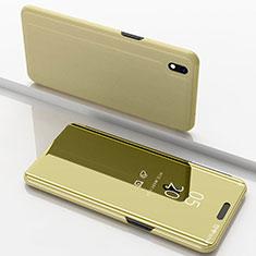Funda de Cuero Cartera con Soporte Espejo Carcasa para Samsung Galaxy A10 Oro
