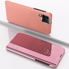 Funda de Cuero Cartera con Soporte Espejo Carcasa para Samsung Galaxy A12 Oro Rosa