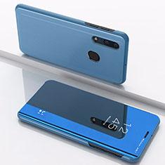 Funda de Cuero Cartera con Soporte Espejo Carcasa para Samsung Galaxy A30 Azul