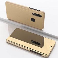 Funda de Cuero Cartera con Soporte Espejo Carcasa para Samsung Galaxy A40 Oro