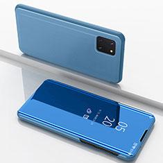 Funda de Cuero Cartera con Soporte Espejo Carcasa para Samsung Galaxy A81 Azul