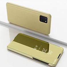 Funda de Cuero Cartera con Soporte Espejo Carcasa para Samsung Galaxy A81 Oro