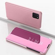 Funda de Cuero Cartera con Soporte Espejo Carcasa para Samsung Galaxy A81 Oro Rosa