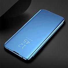 Funda de Cuero Cartera con Soporte Espejo Carcasa para Samsung Galaxy M21 Azul