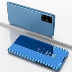 Funda de Cuero Cartera con Soporte Espejo Carcasa para Samsung Galaxy M51 Azul