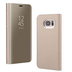 Funda de Cuero Cartera con Soporte Espejo Carcasa para Samsung Galaxy S7 Edge G935F Oro