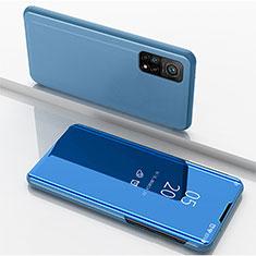 Funda de Cuero Cartera con Soporte Espejo Carcasa para Xiaomi Mi 10T 5G Azul