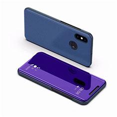 Funda de Cuero Cartera con Soporte Espejo Carcasa para Xiaomi Mi 8 Azul