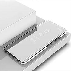 Funda de Cuero Cartera con Soporte Espejo Carcasa para Xiaomi Mi Note 10 Lite Plata