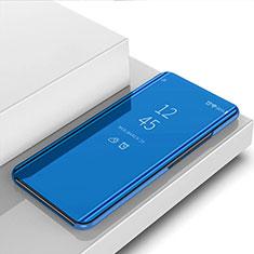 Funda de Cuero Cartera con Soporte Espejo Carcasa para Xiaomi Redmi 9 India Azul