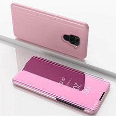 Funda de Cuero Cartera con Soporte Espejo Carcasa para Xiaomi Redmi Note 9 Oro Rosa