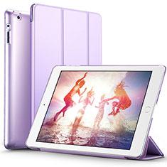 Funda de Cuero Cartera con Soporte L01 para Apple iPad 2 Morado