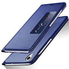 Funda de Cuero Cartera con Soporte L01 para Huawei Ascend P7 Azul