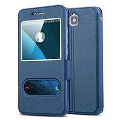 Funda de Cuero Cartera con Soporte L01 para Huawei Enjoy 5 Azul