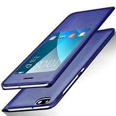 Funda de Cuero Cartera con Soporte L01 para Huawei Honor 4X Azul